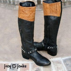 Sam Edelman Park Two Tone Black Brown Boots 6.5
